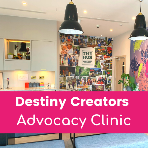 Destiny Creators Advocacy Clinic in white text on pink background