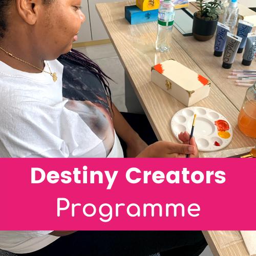Destiny Creators Mentoring Programme - mentee painting wellbeing box